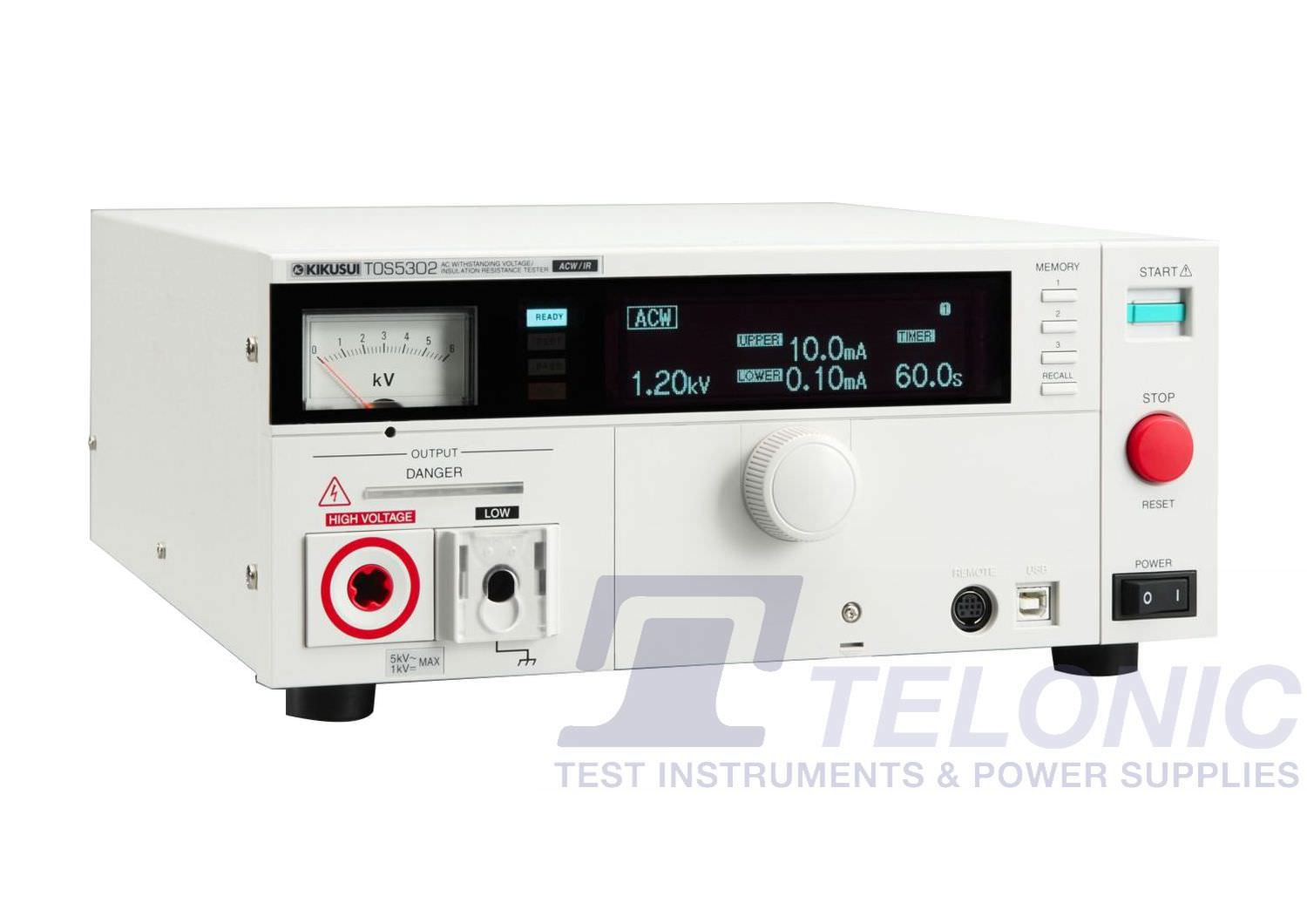 TOS5302   [5kV AC] Flash Test (HIPOT Tester) and Insulation Resistance Tester